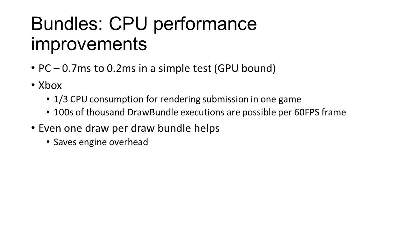 Bundles: CPU performance improvements
