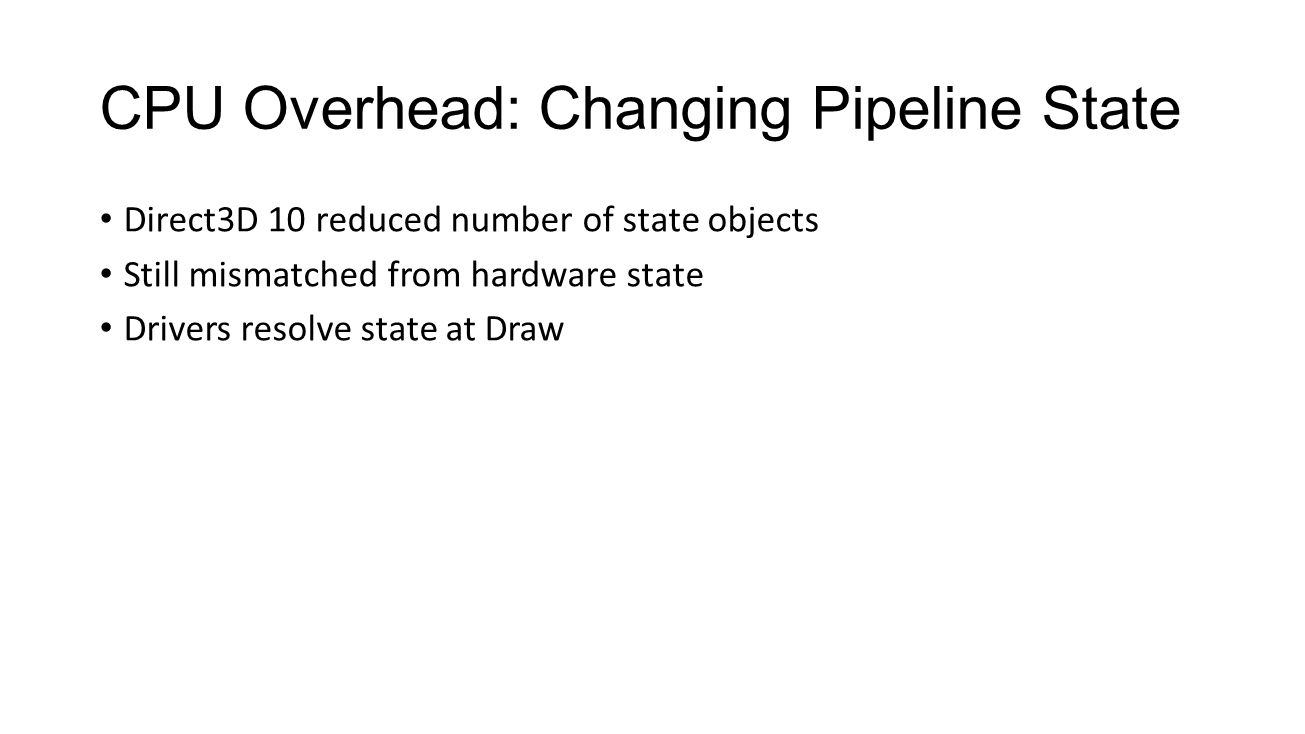 CPU Overhead: Changing Pipeline State