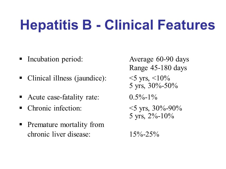 Hepatitis B - Clinical Features