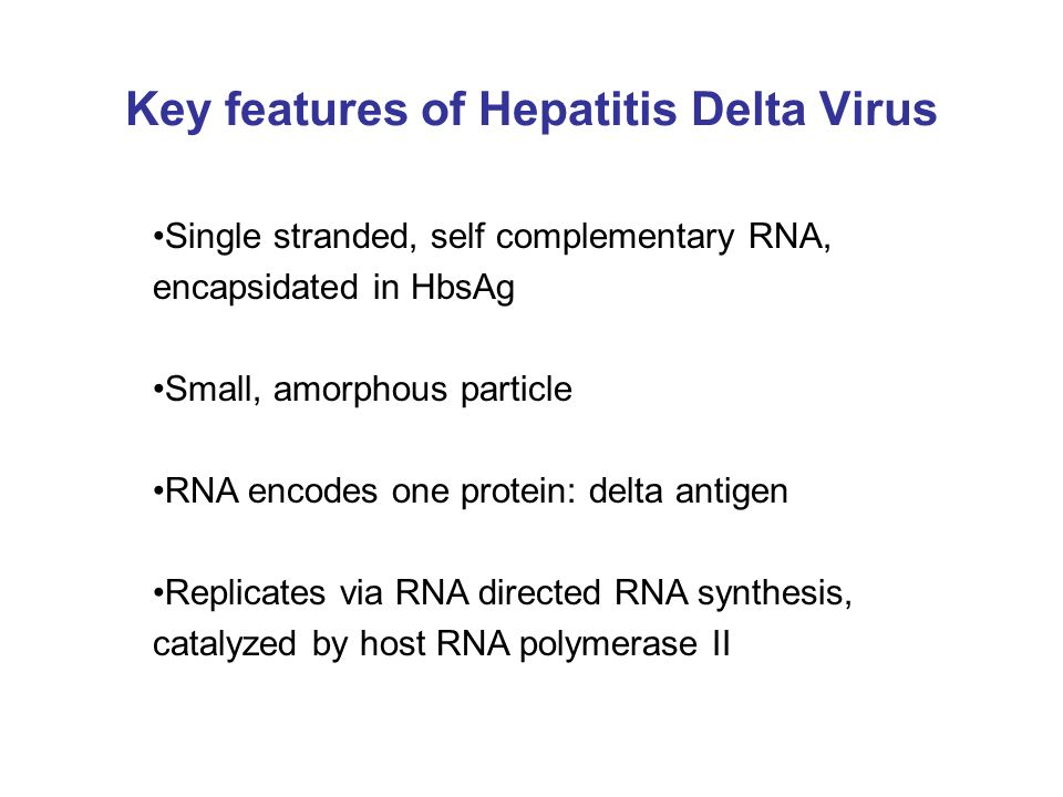 Key features of Hepatitis Delta Virus