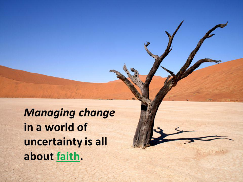Managing change in a world of uncertainty is all about faith.