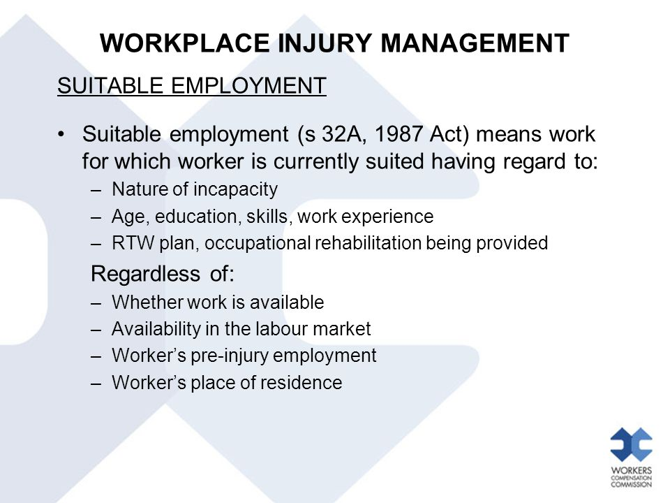 WORKPLACE INJURY MANAGEMENT
