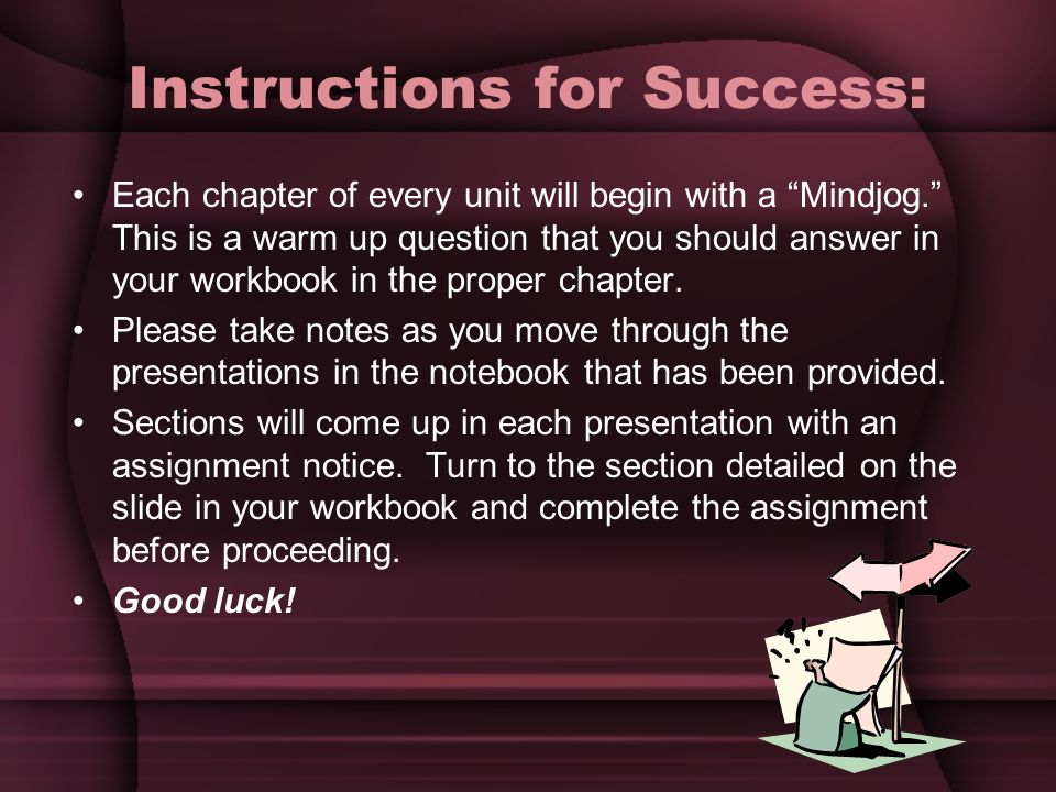 Instructions for Success: