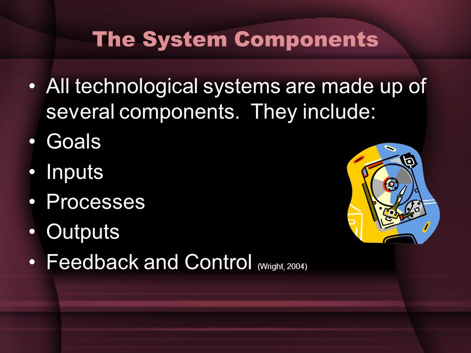 The System Components All technological systems are made up of several components. They include: Goals.