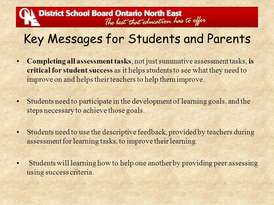 Key Messages for Students and Parents