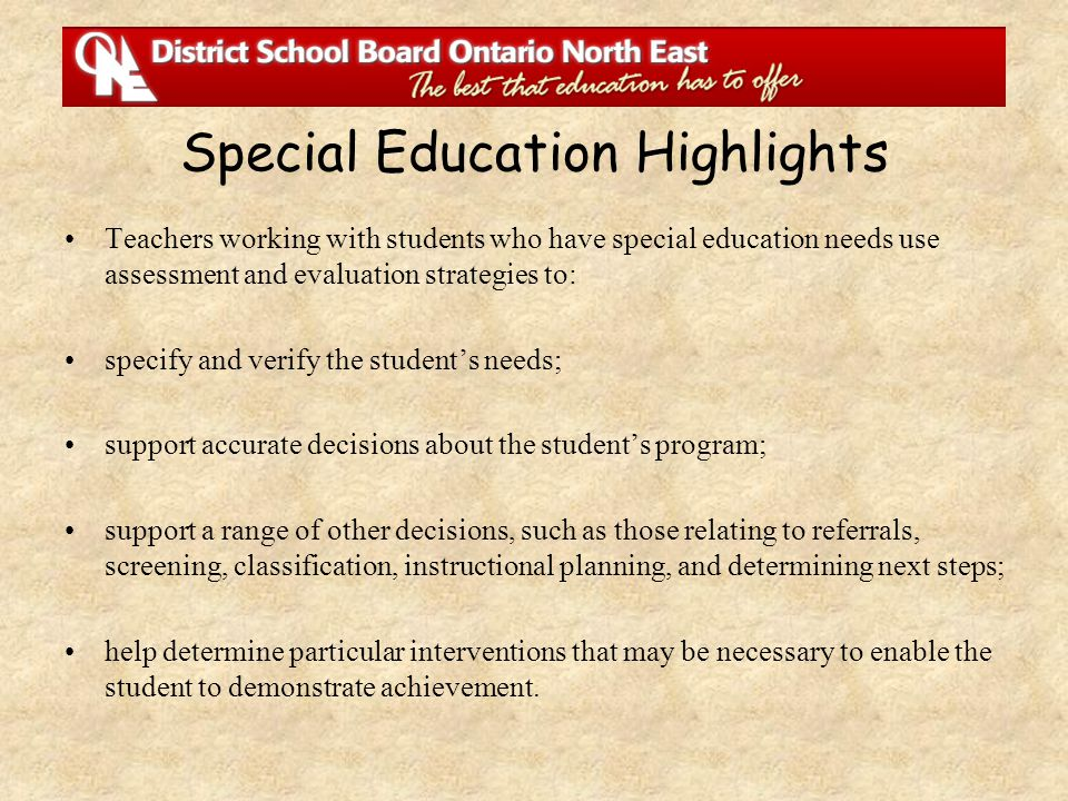 Special Education Highlights