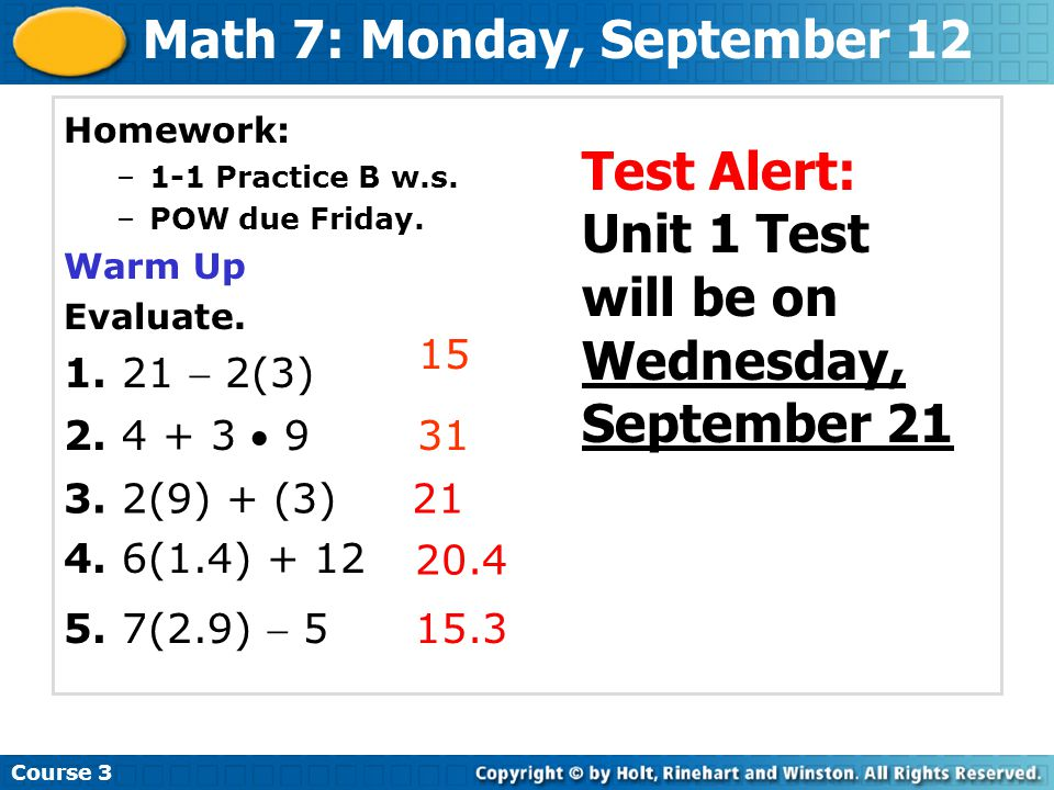 Math 7: Monday, September 12