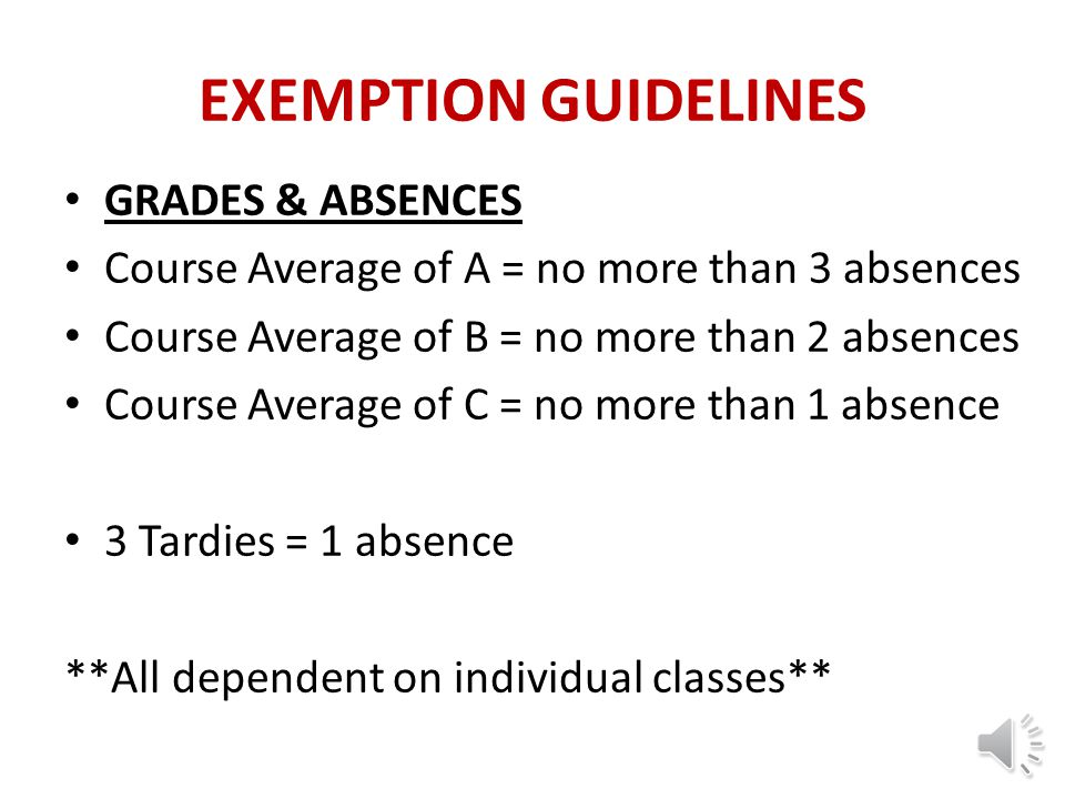 EXEMPTION GUIDELINES GRADES & ABSENCES
