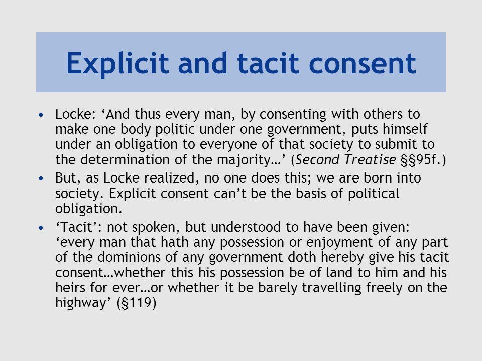Explicit and tacit consent