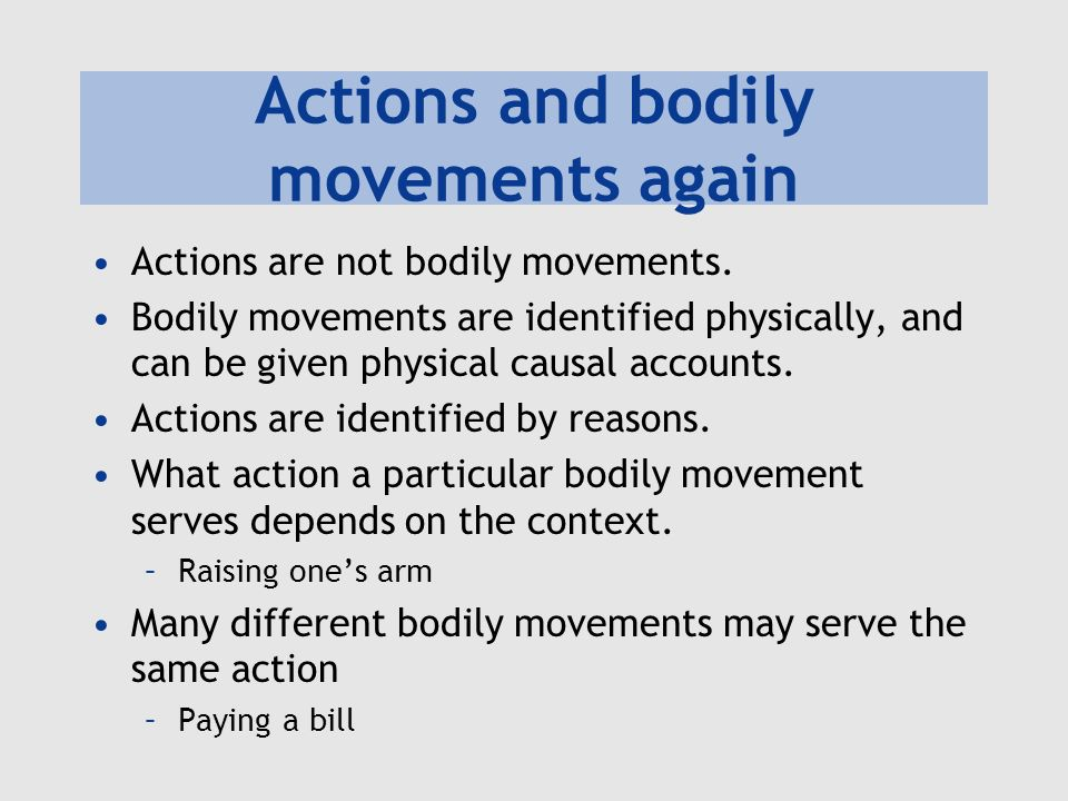 Actions and bodily movements again