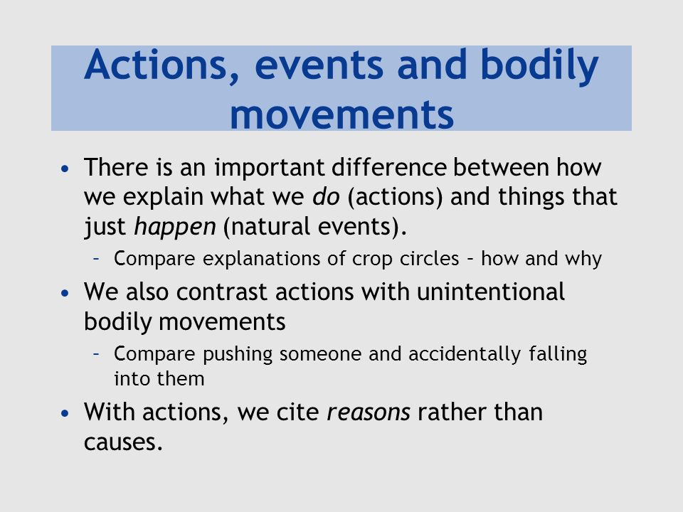 Actions, events and bodily movements