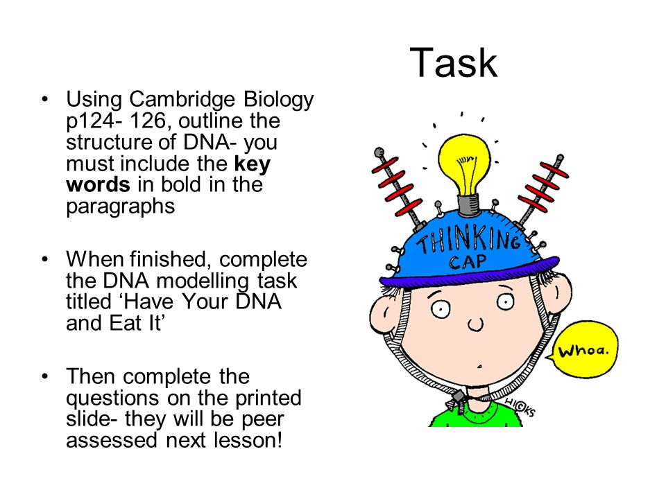 Task Using Cambridge Biology p124- 126, outline the structure of DNA- you must include the key words in bold in the paragraphs.