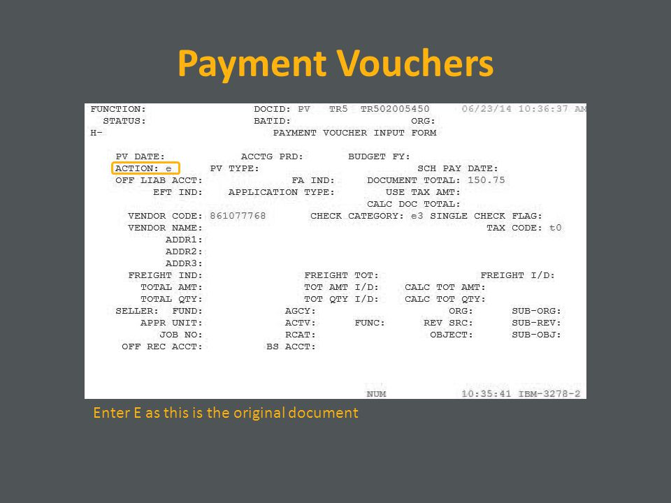 Payment Vouchers Enter E as this is the original document