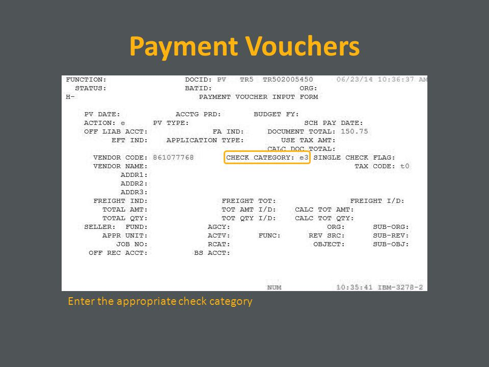 Payment Vouchers Enter the appropriate check category