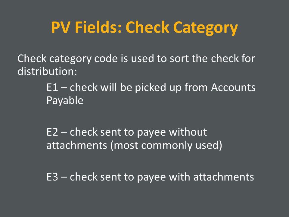 PV Fields: Check Category