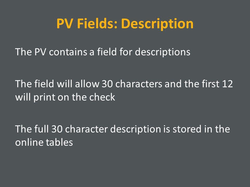 PV Fields: Description