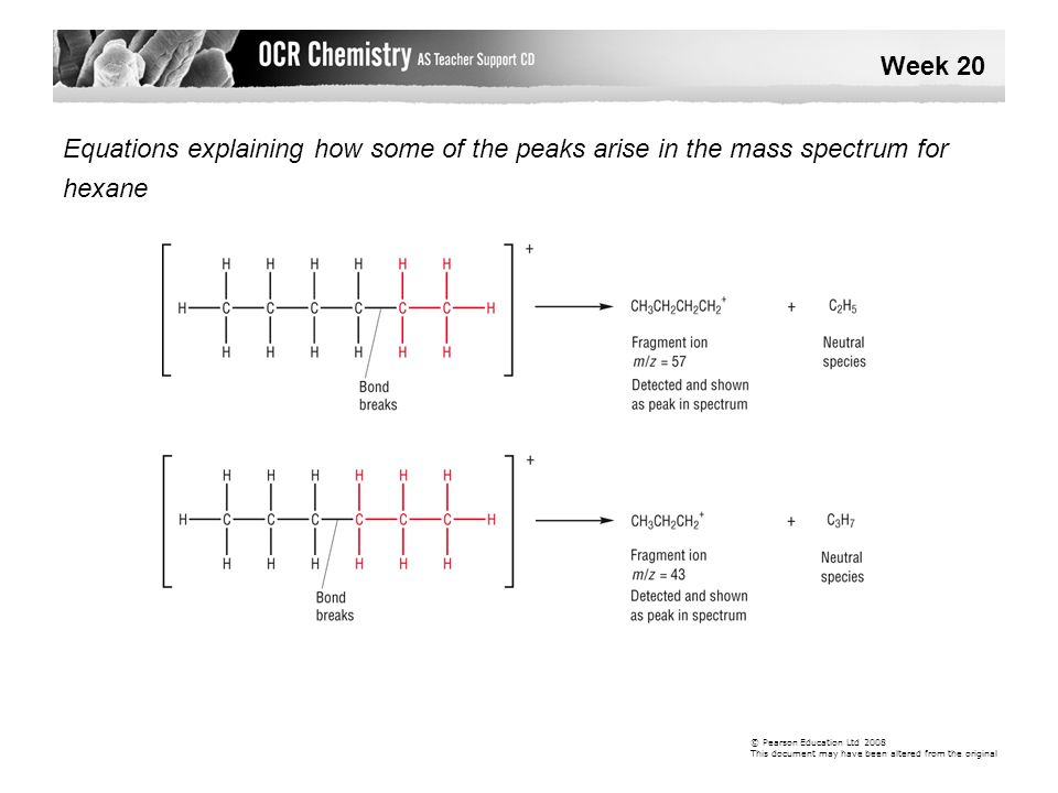Week 20 Equations explaining how some of the peaks arise in the mass spectrum for. hexane. © Pearson Education Ltd 2008.