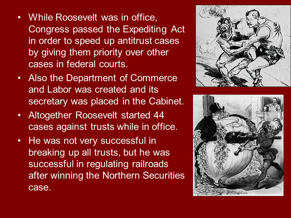 While Roosevelt was in office, Congress passed the Expediting Act in order to speed up antitrust cases by giving them priority over other cases in federal courts.