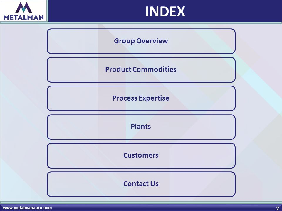 INDEX Group Overview Product Commodities Process Expertise Plants