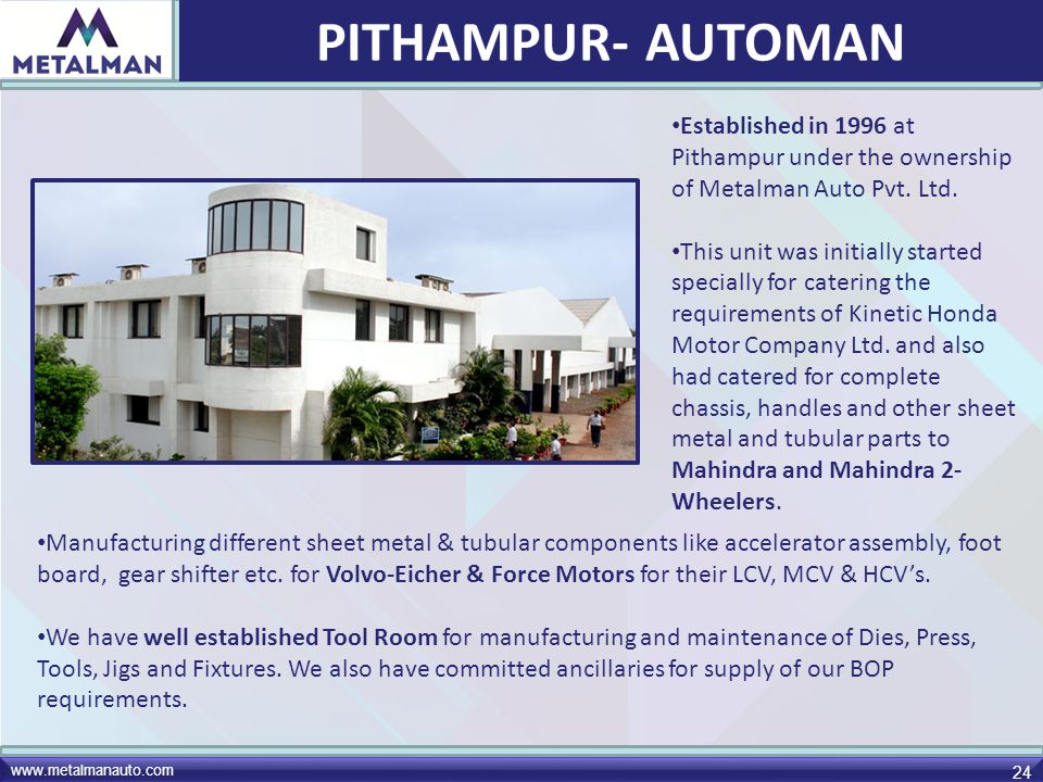 PITHAMPUR- AUTOMAN Established in 1996 at Pithampur under the ownership of Metalman Auto Pvt. Ltd.