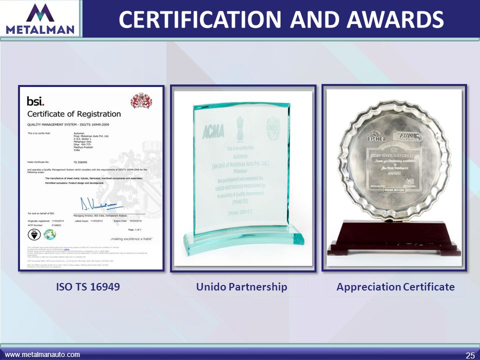 CERTIFICATION AND AWARDS Appreciation Certificate