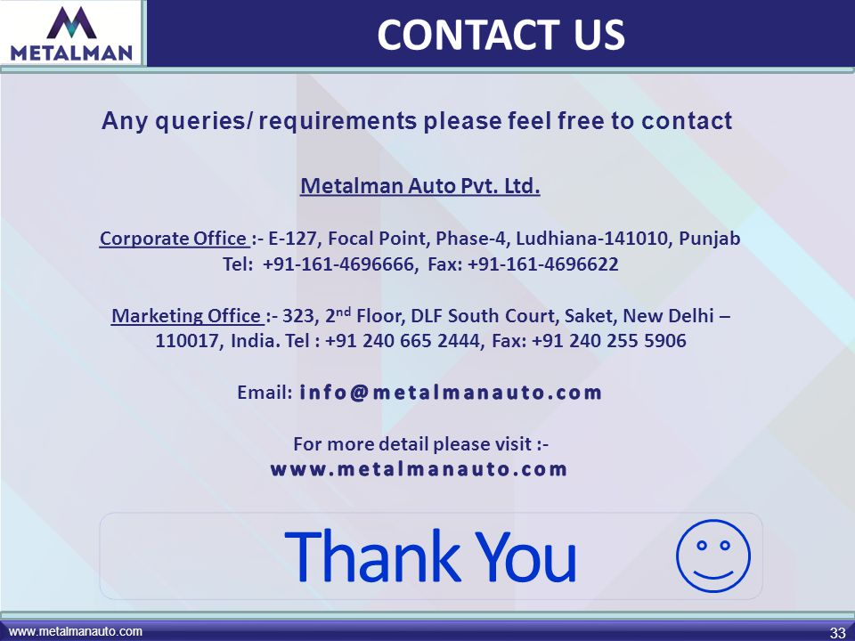 CONTACT US Any queries/ requirements please feel free to contact. Metalman Auto Pvt. Ltd.