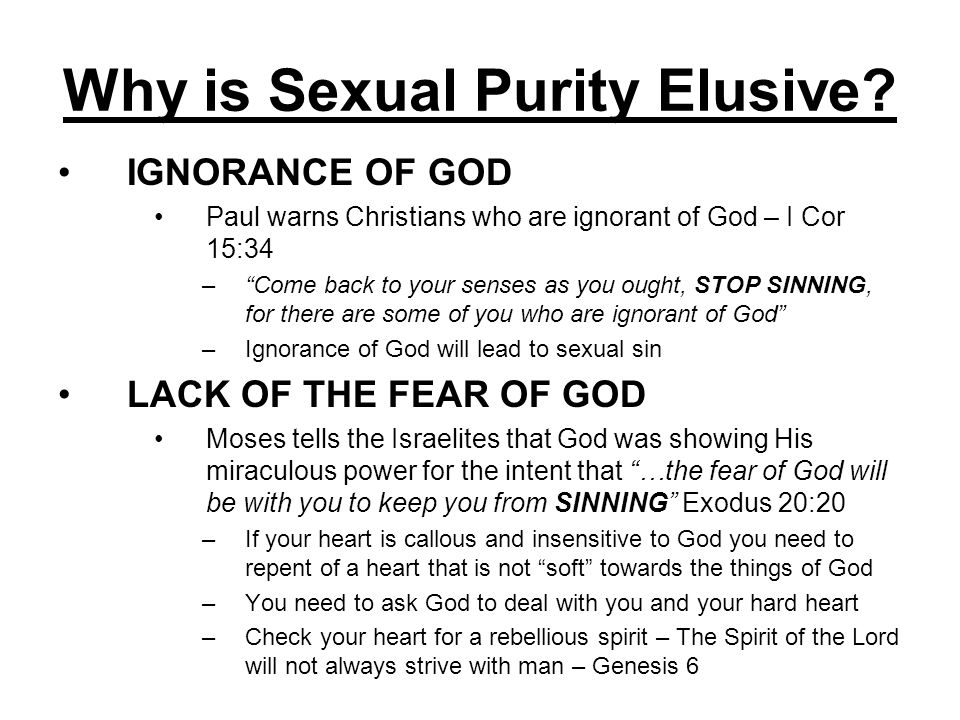 Why is Sexual Purity Elusive