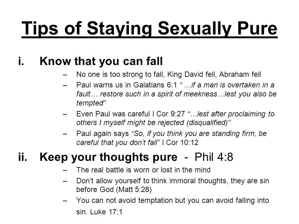 Tips of Staying Sexually Pure