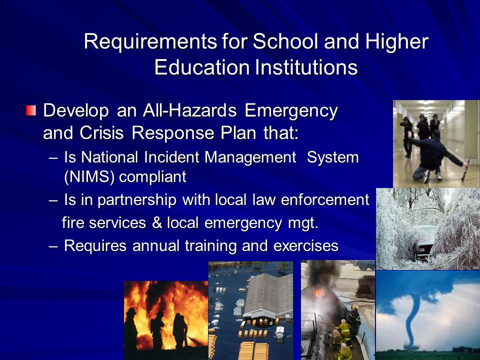 Requirements for School and Higher Education Institutions