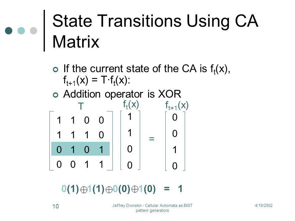 State Transitions Using CA Matrix
