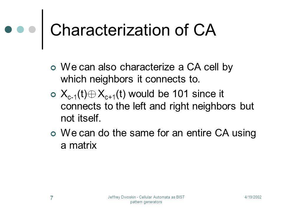 Characterization of CA