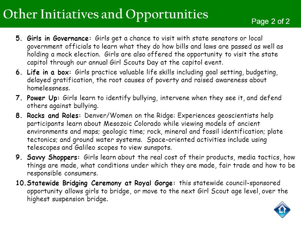 Other Initiatives and Opportunities