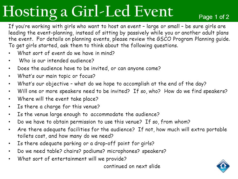 Hosting a Girl-Led Event