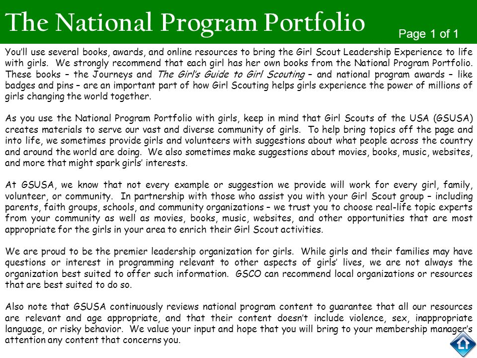 The National Program Portfolio