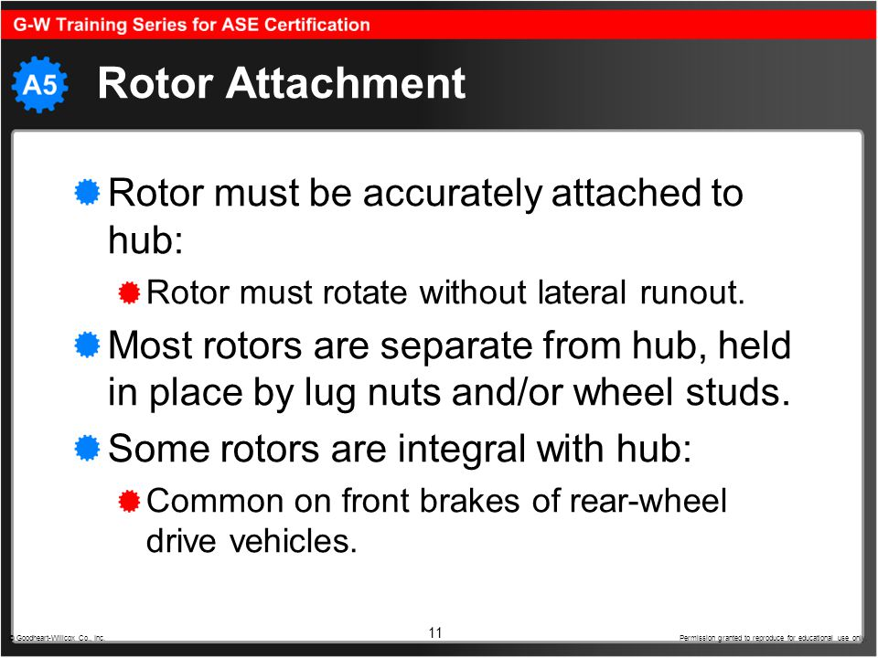 Rotor Attachment Rotor must be accurately attached to hub: