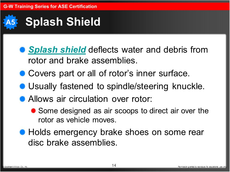 Splash Shield Splash shield deflects water and debris from rotor and brake assemblies. Covers part or all of rotor's inner surface.