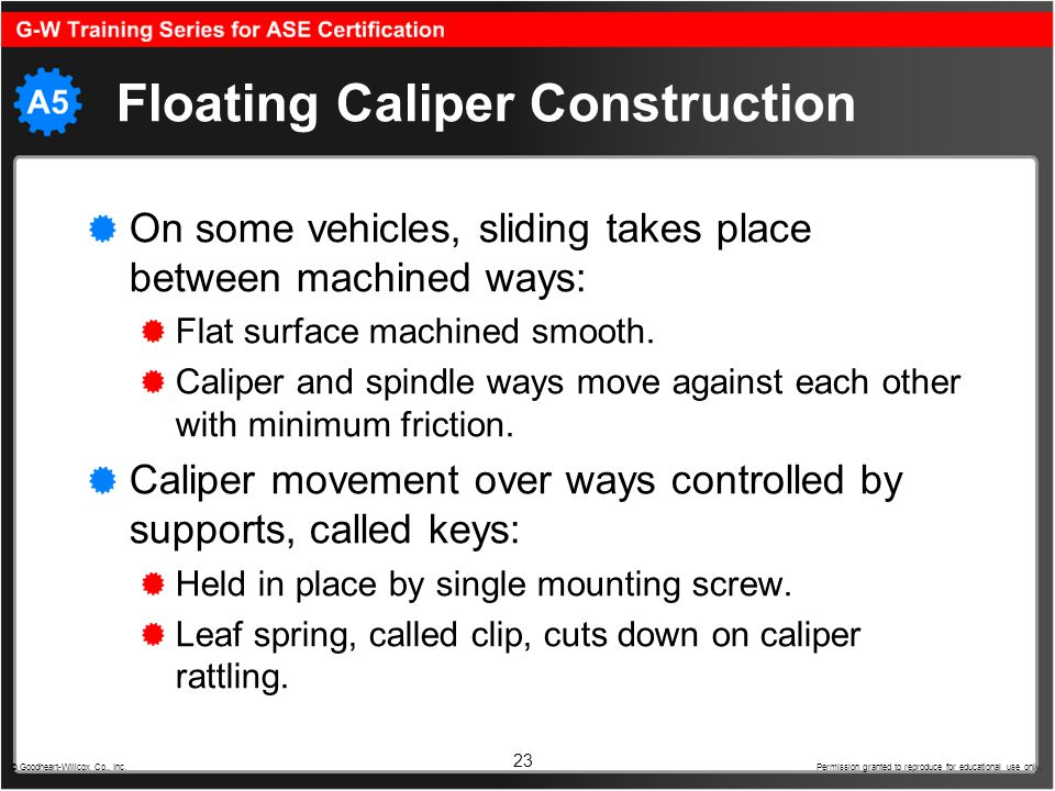 Floating Caliper Construction