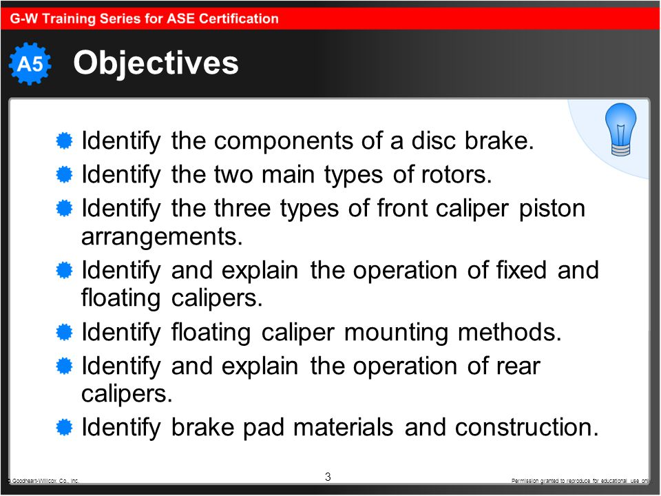 Objectives Identify the components of a disc brake.