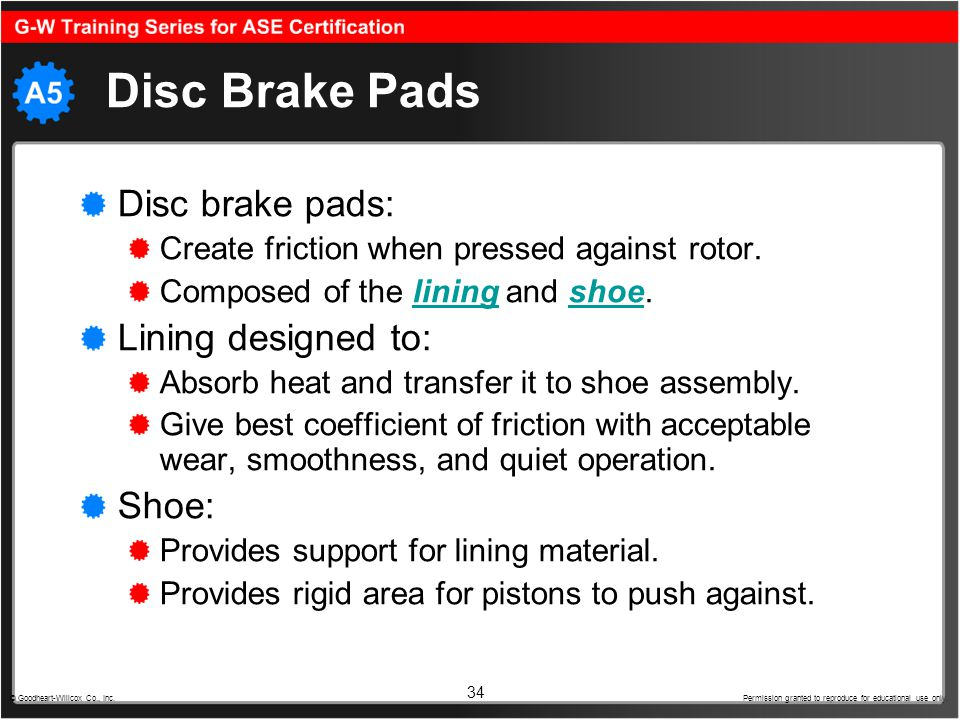 Disc Brake Pads Disc brake pads: Lining designed to: Shoe: