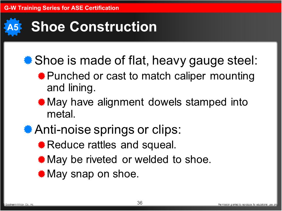Shoe Construction Shoe is made of flat, heavy gauge steel: