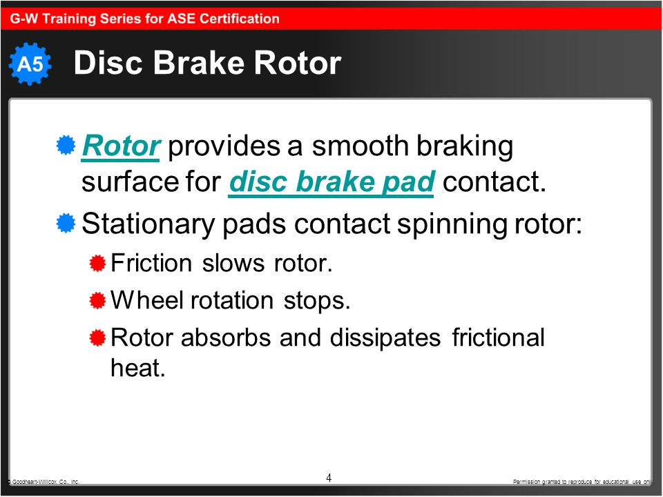 Disc Brake Rotor Rotor provides a smooth braking surface for disc brake pad contact. Stationary pads contact spinning rotor: