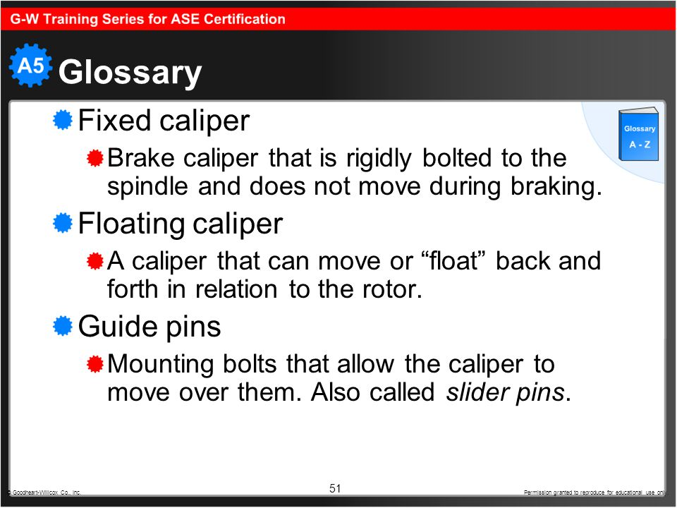 Glossary Fixed caliper Floating caliper Guide pins