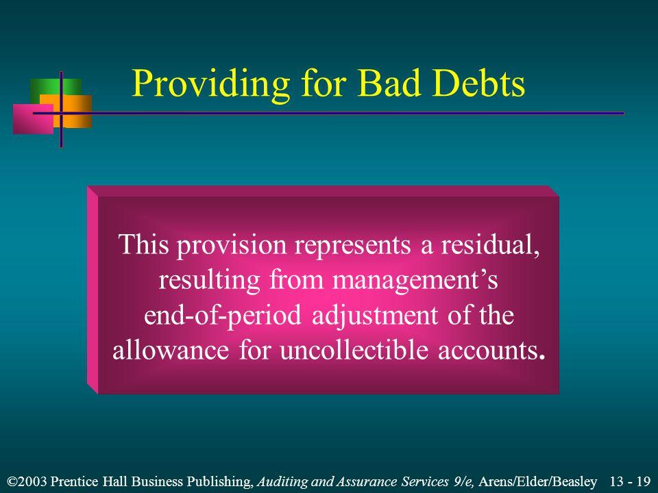 Providing for Bad Debts