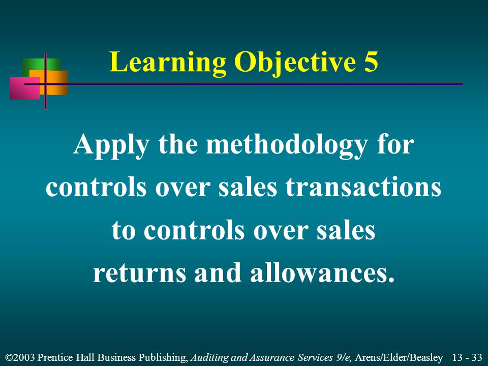 Apply the methodology for controls over sales transactions