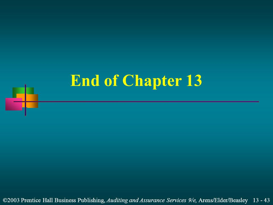 End of Chapter 13