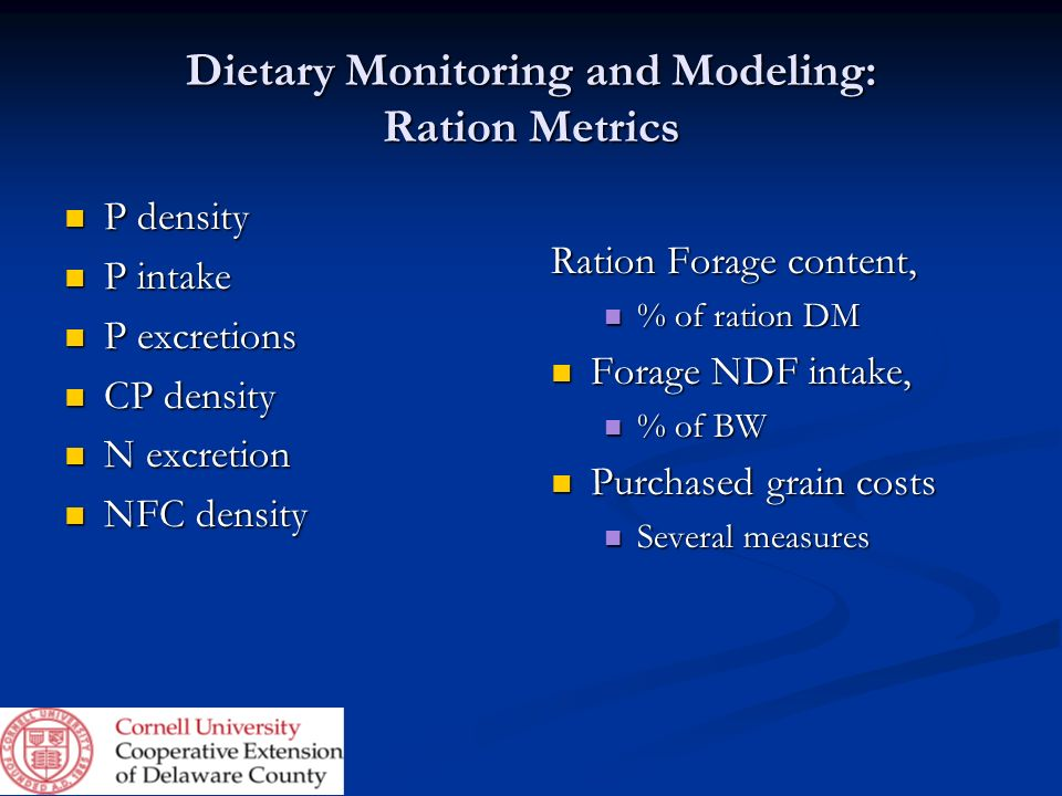Dietary Monitoring and Modeling: Ration Metrics