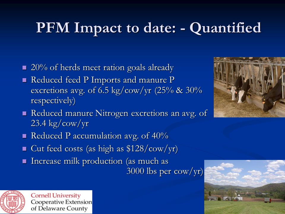 PFM Impact to date: - Quantified