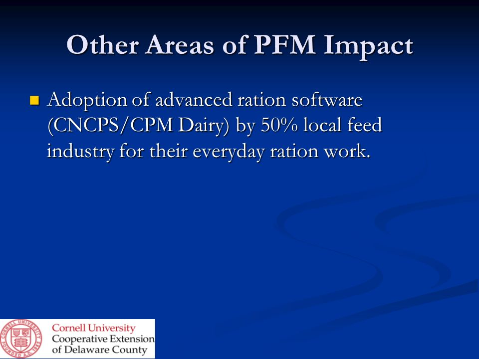 Other Areas of PFM Impact