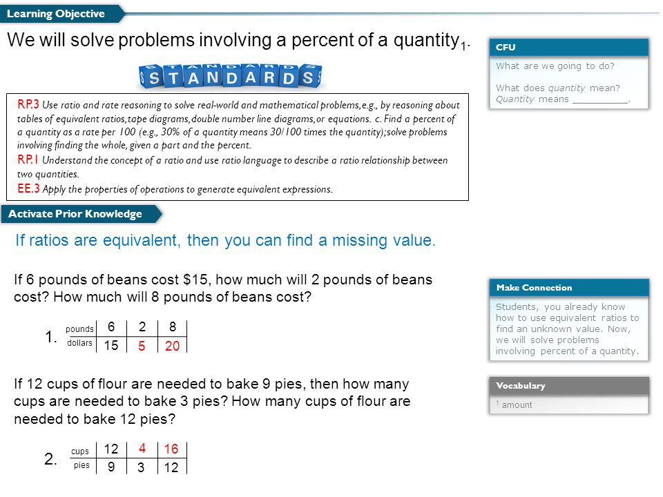 We will solve problems involving a percent of a quantity1.