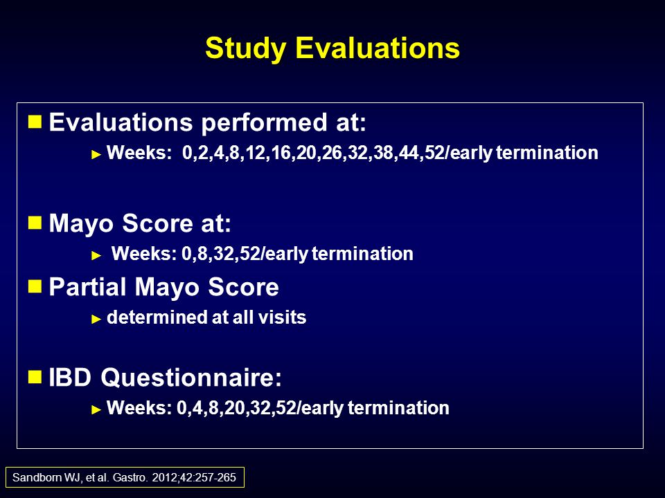 Study Evaluations Evaluations performed at: Mayo Score at:
